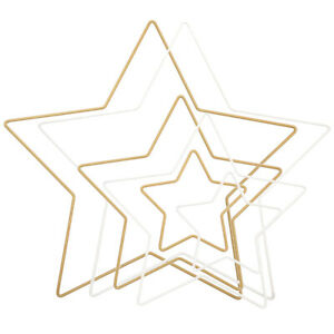 White or Gold Star Shape Metal Ring Hoops for Wreath or Macrame - Choice of Size