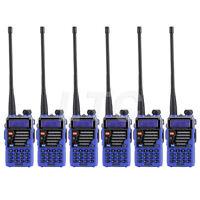 Blue 6Pack Baofeng UV-5R Plus V/UHF Ham Two way Radio + High Power Antenna USA