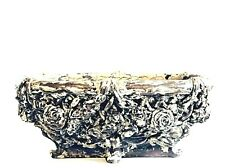 Italian Carved Resin Distressed Faux Wood Floral Centerpiece Planter Shabby Chic