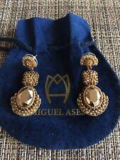 MIGUEL ASES CRYSTAL BEADED DROP EARRINGS