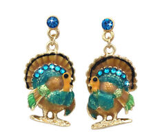 Turkey Bird Dangle Charm Post Stud Earrings Thanksgiving Fall Woman Jewelry