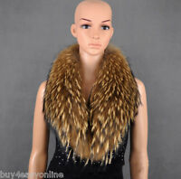 "Warm Women&Men Real Nature Raccoon Fur Collar Scarf Shawl Wrap NeckWarmer 31"" US"