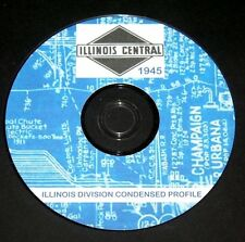 Illinois Central RR 1945 Illinois Division  Condensed Profiles PDF pages on DVD