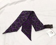 COACH Daisy Ocelot Animal Print Signature C Purple Ponytail Silk Scarf 83042 NWT