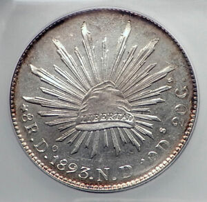 1893 Do ND MEXICO BIG Silver 8 Reales Antique Mexican Coin Eagle ICG MS63 i80903