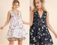 UMGEE Floral Print Layered Ruffle Hem V-Neck Sleeveless A-Line Summer Dress
