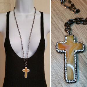 Long Chain Statement Agate Rhinestones Cross Necklace Artisan Rockstar