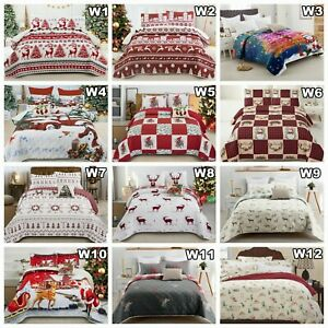 Christmas Quilted Patchwork Comforter Queen Size Bedspread Set Coverlet Throw