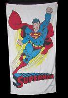 Vintage 80s SUPERMAN DC Comics Beach Towel 50x27 Cotton Terrycloth Briggs
