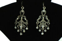 Vintage Earrings Silver Tone Black Accent Clear Rhinestone Dangle Elegant