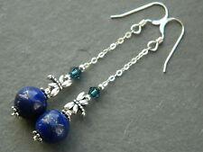 Lapis Lazuli & Swarovski Crystal, Tibetan Dragonfly & Sterling Silver Earrings
