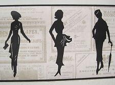 "WOMEN'S FASHION SILHOUETTE BLACK & OFF WHITE/BEIGE Wallpaper Border 9"""