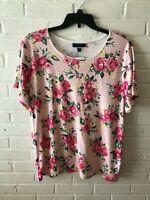 New Karen Scott Woman's Round Neck Short Sleeve Rose Print Knit Top  Plus  T3
