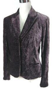 Tahari Blazer Sz 10 Embroidered Purple Soft Crushed Velvet Rayon Silk Jacket