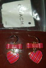 NEW COACH Poppy Bow Heart Pink & Purple Dangle Goldtone Drop Pierced Earrings!