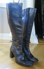 Donald J. Pliner Dark Brown Leather Knee High Heel Boots Size 8 M
