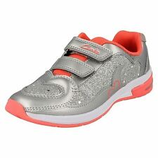 7cdcfabeb84 Girls Clarks Casual Trainers With Lights Piper Chat Silver UK 7 Infant H
