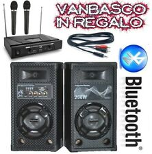 SISTEMA KARAOKE pronto all'uso 2 CASSE + MICROFONI WIRELESS + CAVO PC + VANBASCO