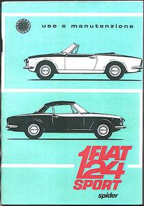 Libretto Uso e  Manutenzione FIAT 124 SPORT SPIDER - 1ª Edizione 1967