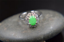 CLEARANCE jade untreated jadeite icy gemstone 100%natural green ring silver 925