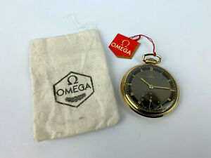 Extremely Rare NOS OMEGA Art Deco Gold plated Black Swiss Pocket Watch 1939's