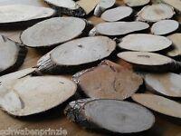 25 x Pappel Scheiben 7-15 cm Holz Birkenrinde Tischdekoration Holzscheiben Oval