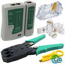 RJ45 Network Cat 5e Ethernet Cable Tester Stripper Crimping Tool Kit Connectors