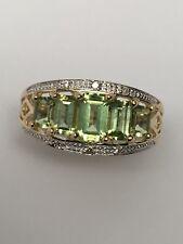 14K Yellow Gold Emerald Cut Peridot and Diamond Accent Ring Size 6