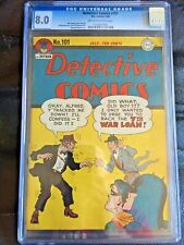 DETECTIVE COMICS #101 CGC VF 8.0; OW-W; WWII war loan cover!