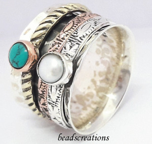 925 Sterling Silver Spinner Pearl and Turquoise Gemstone Ring For Christmas Gift