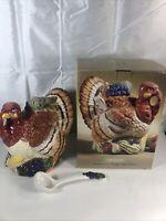 Vintage 1997 Hometrends Earthenware turkey soup tureen w/ladle In Original Box