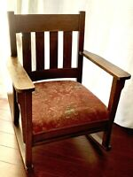 19th C Arts & Crafts Mission Oak STICKLEY Era Rocking Arm Chair, Reupholstered