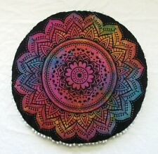 Beach Towel Yoga Mat Wall Hanging Flower Multi Color 72 Inch Round With Pompom