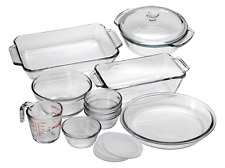 Oven Basics 15-Piece Glass Bakeware Set with Casserole Dish Pie Plate Measuring