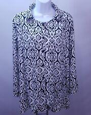 Soft Surroundings Large Blouse Black White Print Salina Batik Medallion Tunic