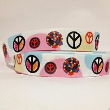 """GROSGRAIN RIBBON 7/8"""" PEACE SIGNS COLORFUL ( FREE SHIPPING )"""