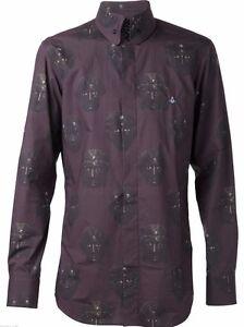Vivienne Westwood Purple Face Printed Mens Shirt 100% Cotton Sz IV / XL / UK 42