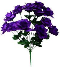"Microfiber Purple Rose 20"" Bush Silk Flower Home Wedding Bridal Office Decor"