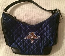 NHL Florida Panthers Hockey Team Color Quilted Hobo Purse / Hand Bag