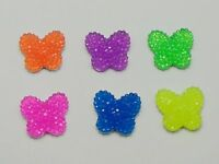 50 Mixed Neon Color Flatback Resin Butterfly Cabochon Dotted Rhinestone 17X15mm