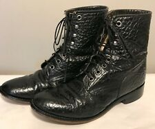 JUSTIN Roper Bull Hide 522 Leather Boots Kids 3 1/2 D Black Western Cowboy