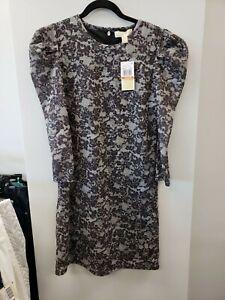 Michael Kors Black/Gray Lace Puff-Sleeve Sheath Dress XS