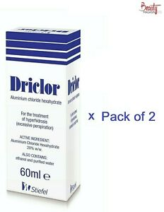 2 x Driclor Antiperspirant 60ml Roll On Stops Sweating