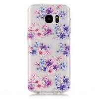 Custodia TPU cover trasparente FIORI VIOLA per Samsung Galaxy S7 Edge G935F