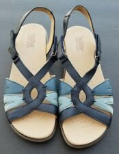 Hotter Flare Leather Sandals Navy Blue Multi Size 9 EU 41