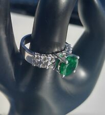 Rare Emerald and Diamond Platinum Ring. 2.08ct Natural Emerald Center. 2.68TCW