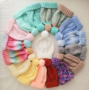 3-6 Months Baby Girls Boys Bobble Hat Hand Knitted Pink White Blue Grey Lemon