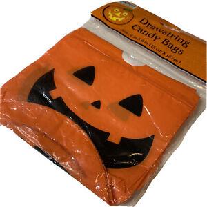 18 Drawstring Halloween Jack-O'-Lantern Pumpkin Plastic Candy Bags