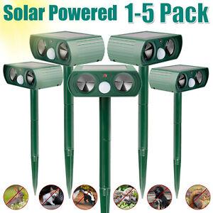 Animal Repellers Ultrasonic Solar Powered Outdoor Pest Cat Dog Mice Deer Sensor