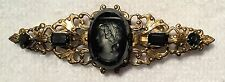 VINTAGE  FRENCH JET SILVER LUSTER INTAGLIO GLASS CAMEO PIN BROOCH BLACK